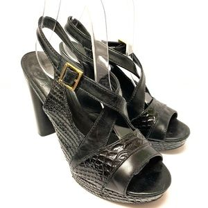 Tory Burch Black Leather Heels Shoes
